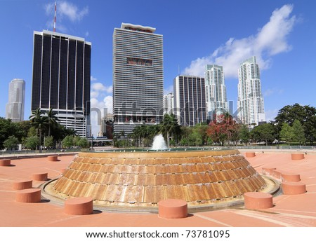 View of downtown Miami Skyline with offices and Apartments from Bayfront Park with the city's public  fountain in the foreground