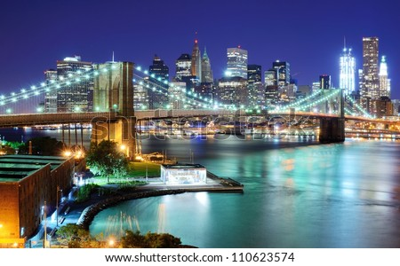 View of Downtown New York City and Brooklyn Bridge