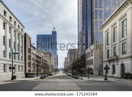 view of downtown raleigh, north carolina from street level, hdr image #175245584
