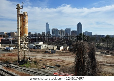 View of downtown Raleigh North Carolina in winter