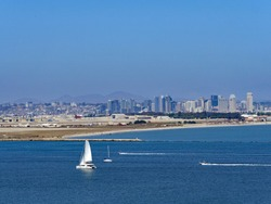View of Downtown San Diego and San Diego Bay from Cabrillo National Monument, Point Loma, San Diego, June 2018