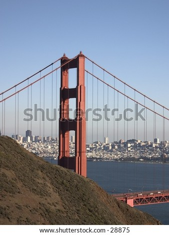 View of downtown San Fracisco through the Golden Gate Bridge