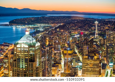 View of downtown Seattle skyline in Seattle Washington, USA #510933391