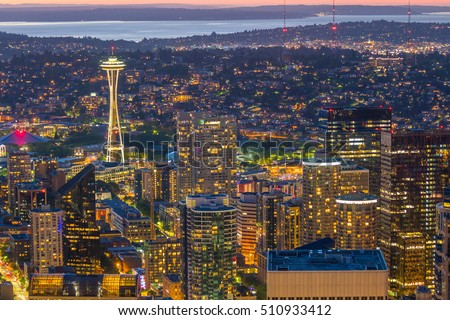 View of downtown Seattle skyline in Seattle Washington, USA #510933412