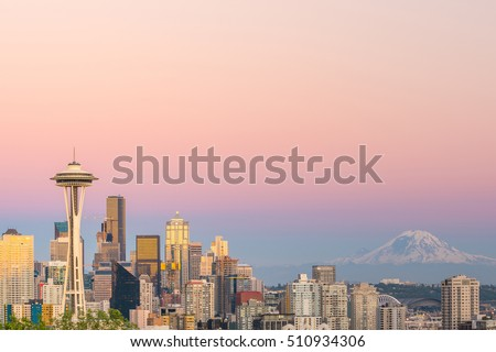 View of downtown Seattle skyline in Seattle Washington, USA #510934306