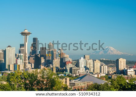 View of downtown Seattle skyline in Seattle Washington, USA #510934312
