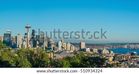 View of downtown Seattle skyline in Seattle Washington, USA #510934324