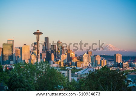 View of downtown Seattle skyline in Seattle Washington, USA #510934873