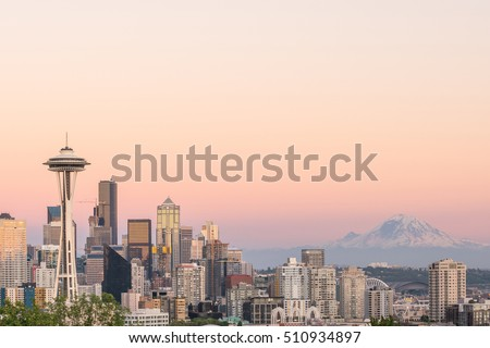 View of downtown Seattle skyline in Seattle Washington, USA #510934897