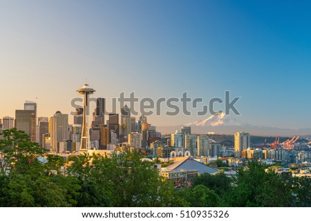 View of downtown Seattle skyline in Seattle Washington, USA #510935326