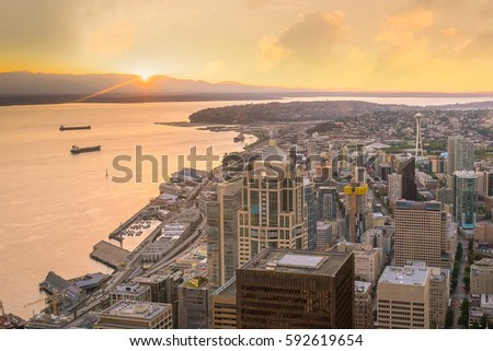 View of downtown Seattle skyline in Seattle Washington, USA #592619654
