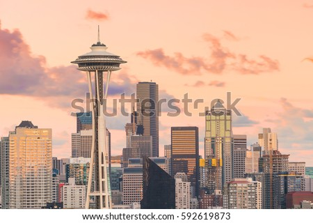 View of downtown Seattle skyline in Seattle Washington, USA #592619873