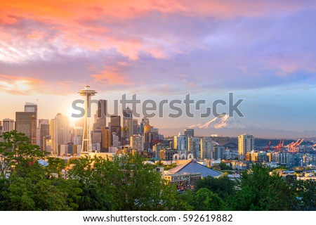 View of downtown Seattle skyline in Seattle Washington, USA #592619882