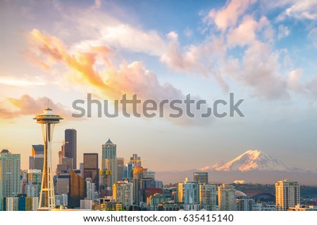 View of downtown Seattle skyline in Seattle Washington, USA #635415140