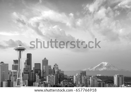 View of downtown Seattle skyline in Seattle Washington, USA #657766918