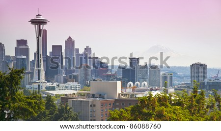 View of downtown Seattle with view of Mt. Rainier in the background