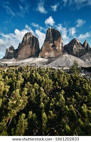 View of Drei Zinnen or Tre Cime di Lavaredo with beautiful cloud on sky, Sextener Dolomiten or Dolomiti di Sesto, South Tirol, Dolomites mountains, Italian Alps Zdjęcia stock ©