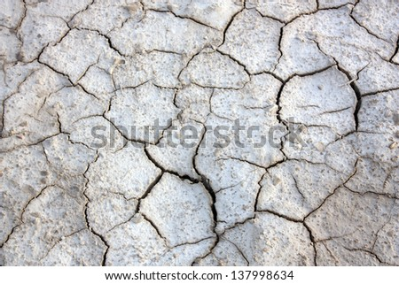 View of dry cracked land in interior Sindh - stock photo