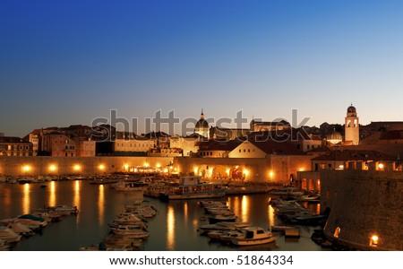 View of Dubrovnik harbor, Croatia