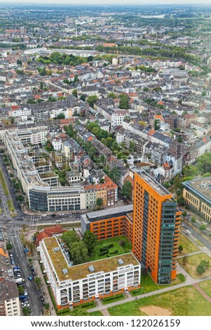 View of Dusseldorf from height of birds flight
