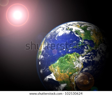 view of earth and sun from orbit (image of earth taken from http://visibleearth.nasa.gov)
