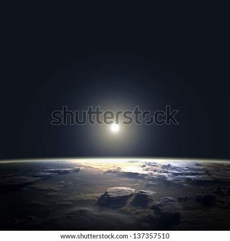View of earth and sun from space orbit. Elements of this image furnished by NASA