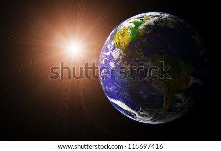 view of earth and sun from space orbit (image of earth taken from http://visibleearth.nasa.gov) - stock photo