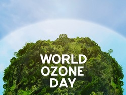 View of edge protect layer of natural circular shape. /World ozone day and conserve nature concept.