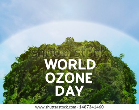 View of edge protect layer of natural circular shape. /World ozone day and conserve nature concept. #1487341460