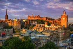 View of Edinburgh castle from Calton Hill, Edinburgh, Scotland.