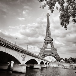 View of Eiffel tower and bridge in square monochrome style