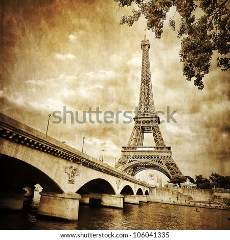 Stock Photo View of Eiffel tower and river in monochrome vintage filtered style