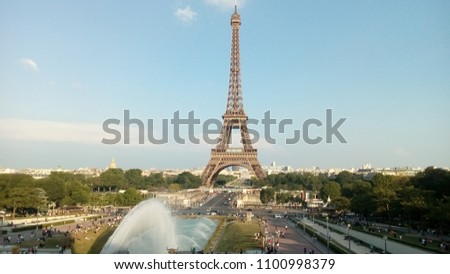 View of Eiffel Tower from Jardins du Trocadero in Paris, France.  #1100998379