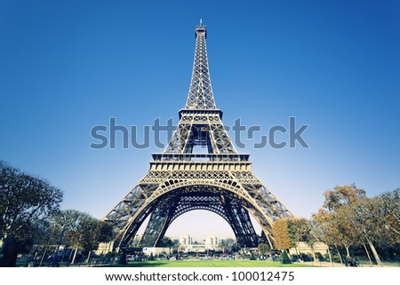 view of Eiffel tower in Paris with gorgeous colors