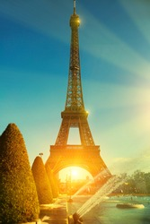 View of Eiffel Tower on sunny day, Paris