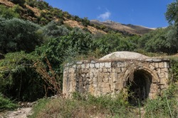 View of Ein Kadan spring, Rosh Pina stream lower spring locked in a dome covered building at Rosh Pina stream reserve, town of Rosh Pina, located on the slopes of Mount Canaan, Upper Galilee, Israel.