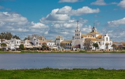View of El Rocio and lake, cloudy day, Andalucia, Spain
