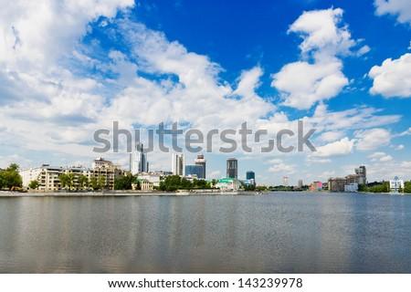 View of embankment Yekaterinburg City.