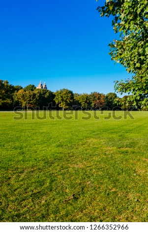 View of empty Great Lawn of Central Park under clear blue sky, in Manhattan, New York City, USA