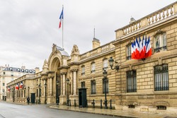 View of entrance gate of the Elysee Palace from the Rue du Faubourg Saint-Honore. Elysee Palace - official residence of President of French Republic since 1848.