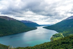 View of Escondido Lake from Paso Garibaldi in Tierra Del Fuego, Argentina. Located at National Route 3, Pass Garibaldi go across the Andes with great lookout of the Escondido Lake