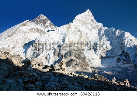 view of Everest and Nuptse from Kala Patthar