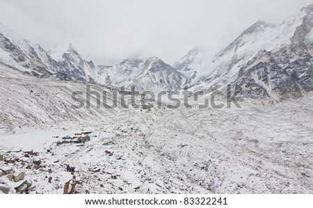 View of  Everest region in case of bad weather, Nepal
