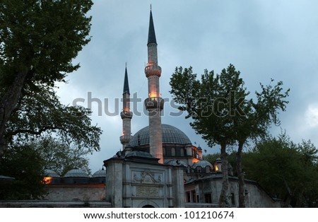 View of Eyup Sultan Mosque by sun up. The Mosque is in istanbul, Turkey.