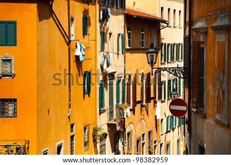 View of facade houses in Firenze, Italy