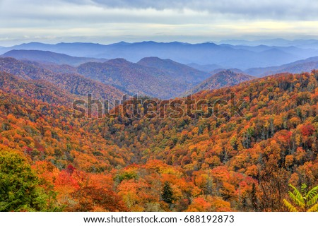 View of fall foliage and mountains in Great Smoky Mountains National Park, along the North Carolina-Tennessee border #688192873