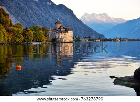 view of famous Chateau de Chillon at Lake Geneva one of Switzerland's. Canton of Montreux Switzerland #763278790