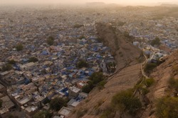 View of Famous Jodhpur City At Sunsetime Taken From The Top Of Mehrangarh Fort Rajasthan.