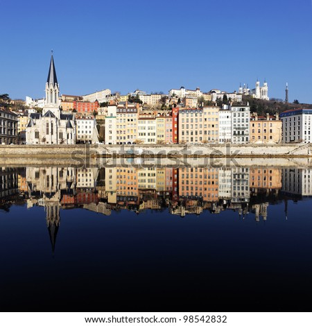 view of famous Lyon and Saone River in France