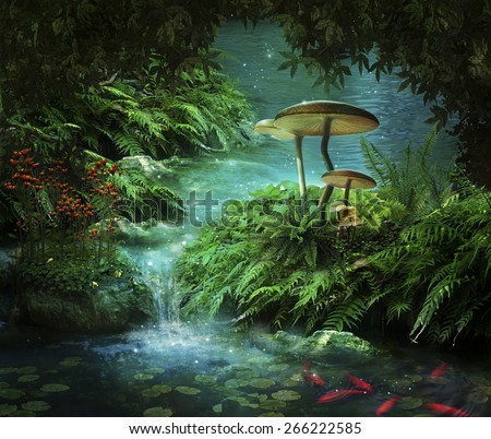 view of fantasy river with a pond, red fishes and mushroom